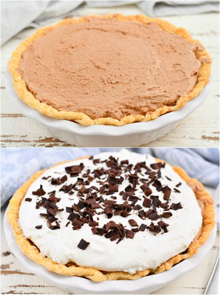 photo collage of chocolate custard in a pastry crust, before and after adding whipped cream topping