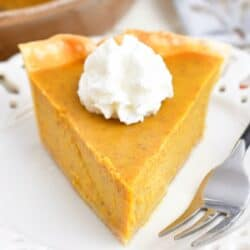 closeup of a front view of a slice of pumpkin pie with whipped cream