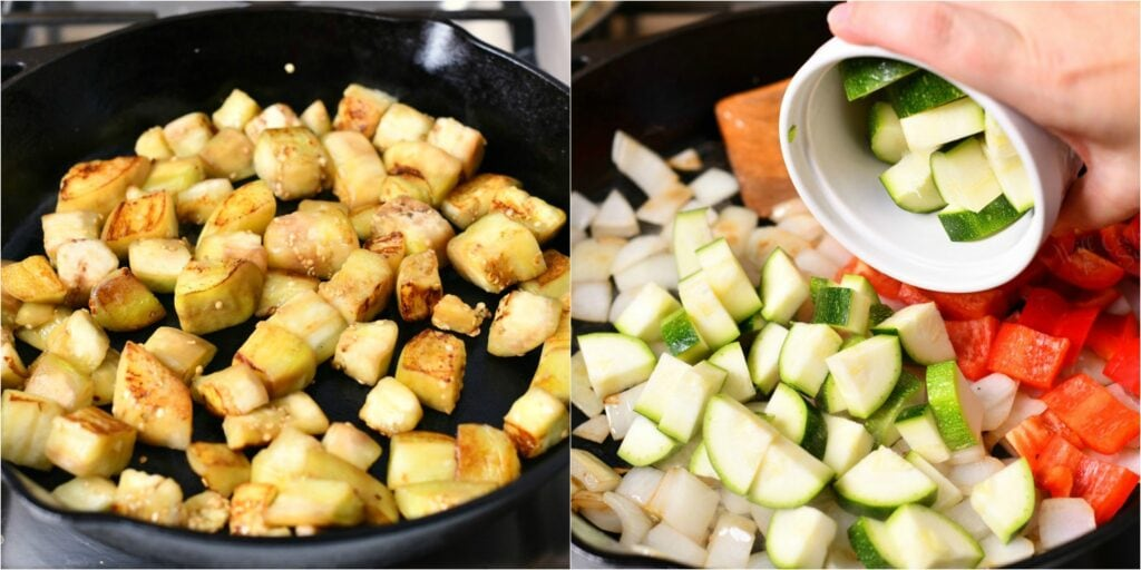 adding raw diced zucchini to vegetable ratatouille in cast iron pan
