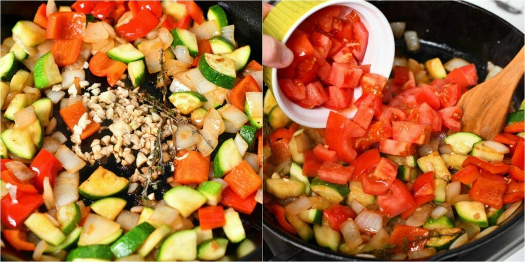 fresh diced tomato being added to a cast iron skillet with other chopped garden vegetables