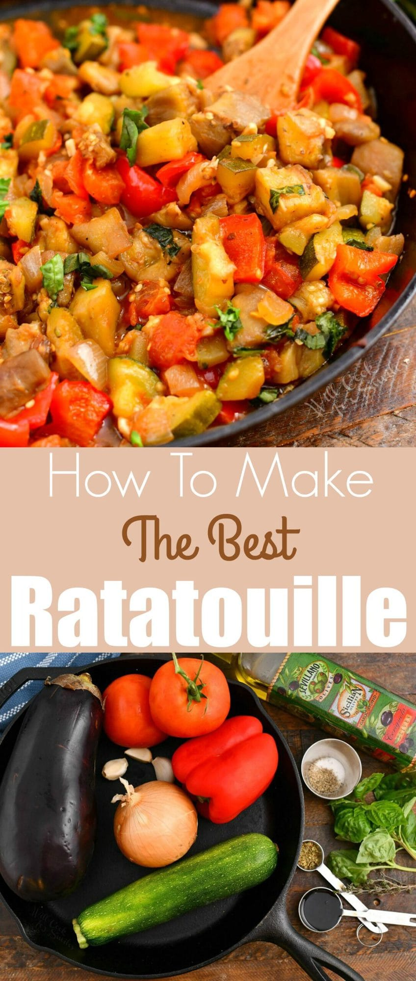 titled photo: How to Make the Best Ratatouille (photo of ratatouille ingredients and the finished dish