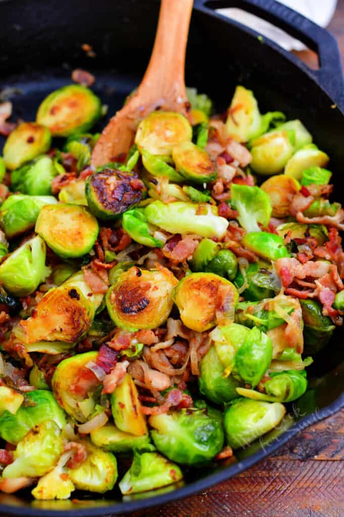 sauteing brussel sprouts in skillet