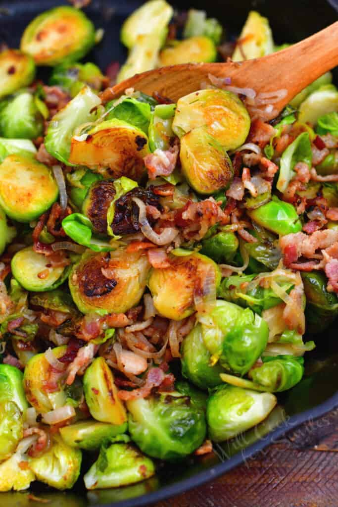 close up image: dish of brussels sprouts with bacon