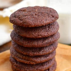 side view: stack of homemade chewy chocolate cookies