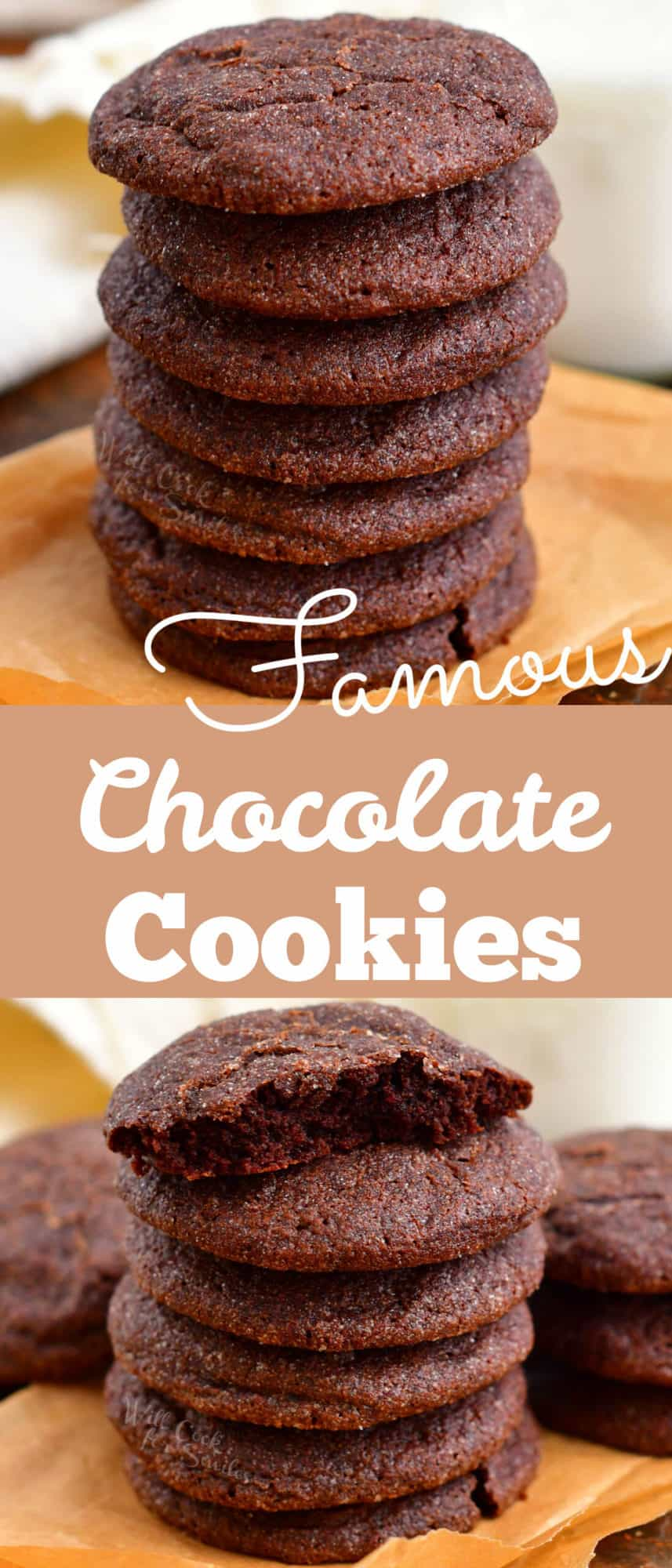 titled photo collage (and shown): Famous Chocolate Cookies