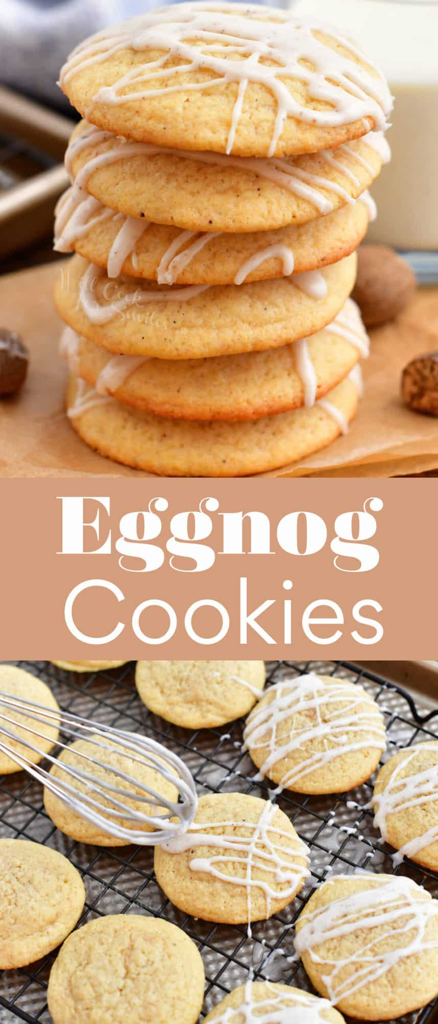 Eggnog cookies are both stacked in a pile and spread on a wire cooling rack.