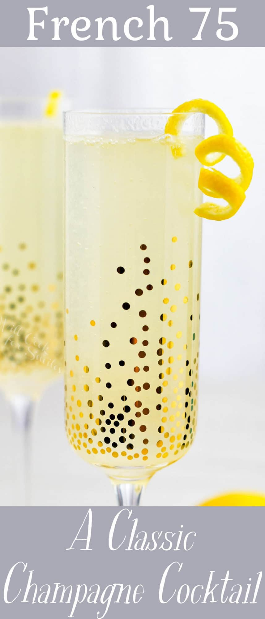 The title card for French 75 displays a glass filled with the cocktail.