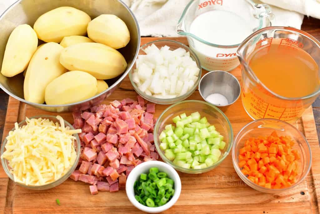 prepared ingredients on cutting board to make ham and potato soup recipe