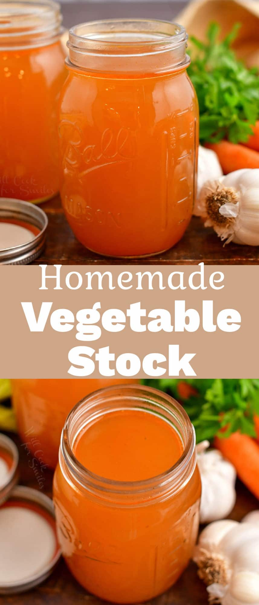 titled photo collage (and shown): Homemade Vegetable Stock