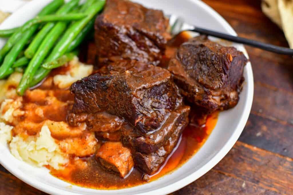 closeup: plated short ribs recipe