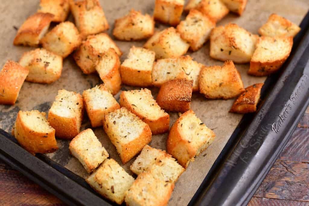 sheet pan with toasted bread croutons