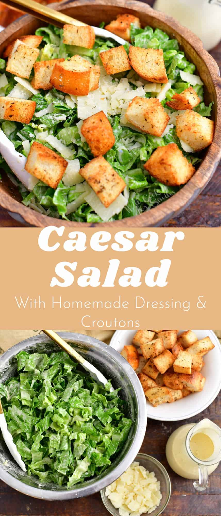 titled Pinterest image (and shown): Caesar Salad with Homemade Dressing and Croutons