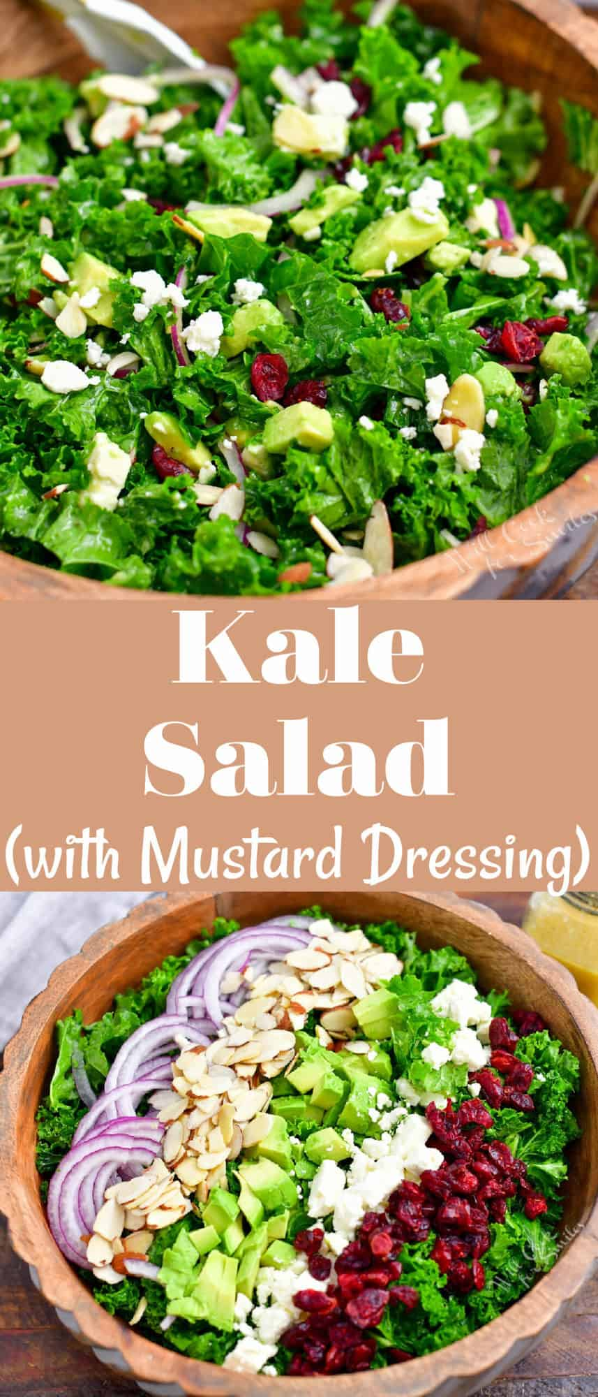 titled Pinterest photo (and shown): Kale Salad with Mustard Dressing