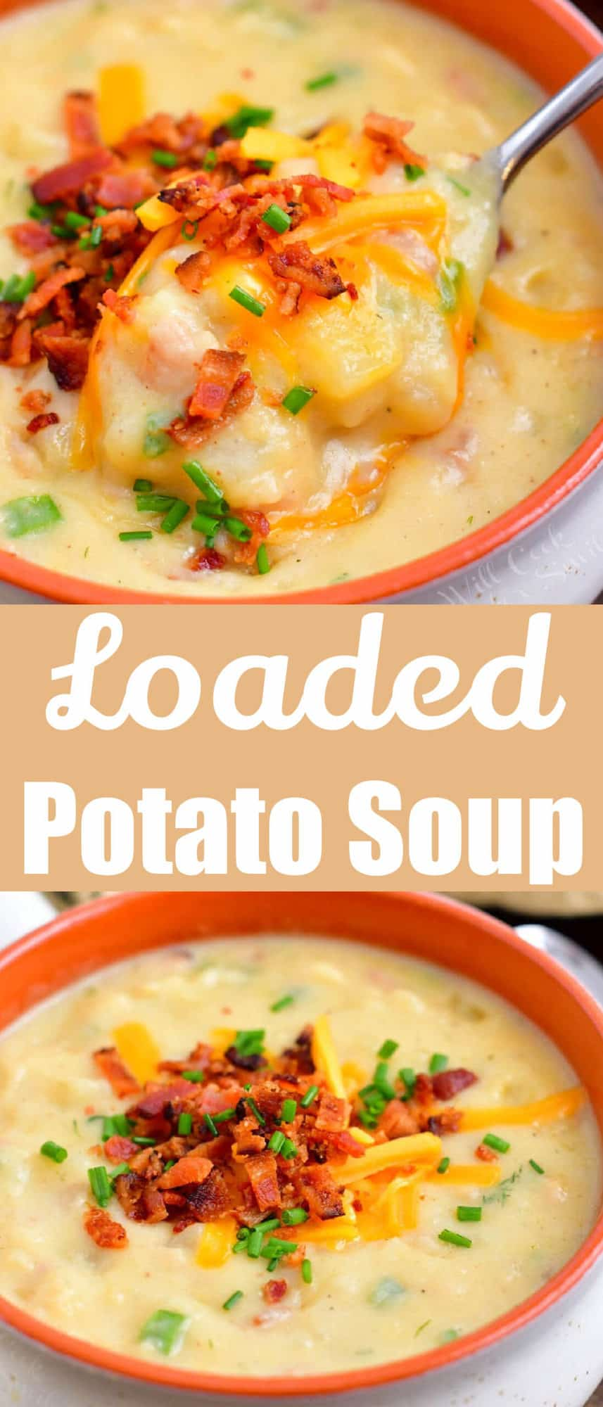 collage image of title and two photos of loaded baked potato soup in a bowl