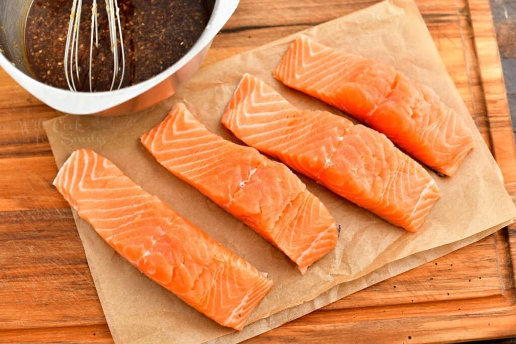 raw salmon filets for pan seared salmon recipe