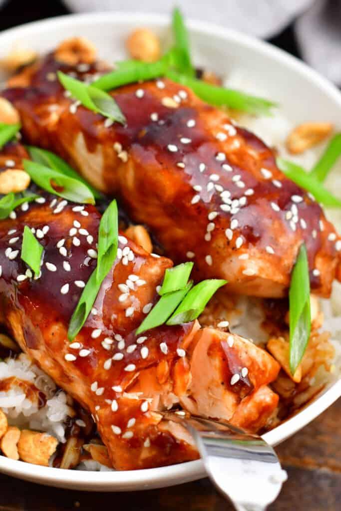 closeup: metal fork flaking teriyaki salmon in a bowl of white rice