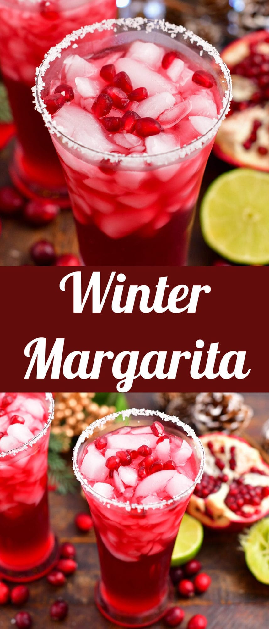 collage of two images of winter margarita cocktail in a glass up close and further away with title in the middle