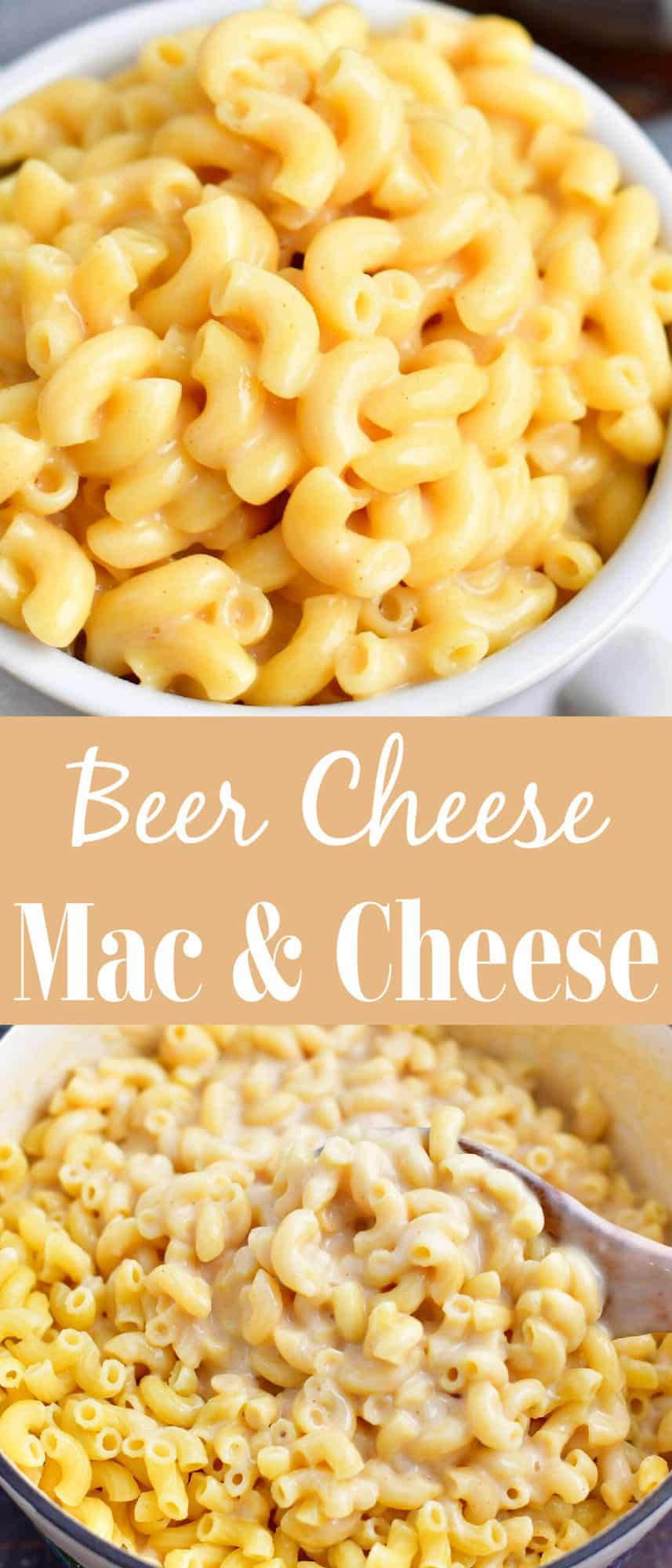 titled photo collage (and shown): beer cheese mac and cheese