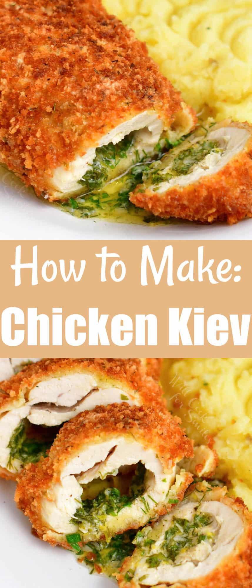 titled photo collage for Pinterest: How to Make Chicken Kiev