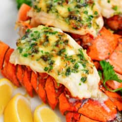 baked lobster tails topped with fresh parsley and herb butter