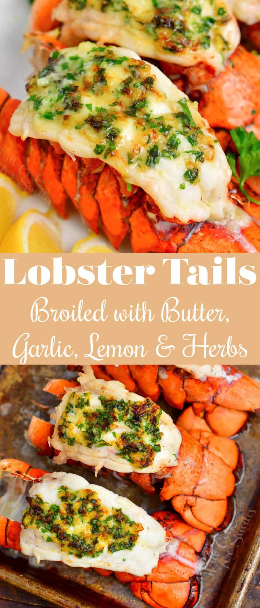 titled image for Pinterest shows broiled lobster tails