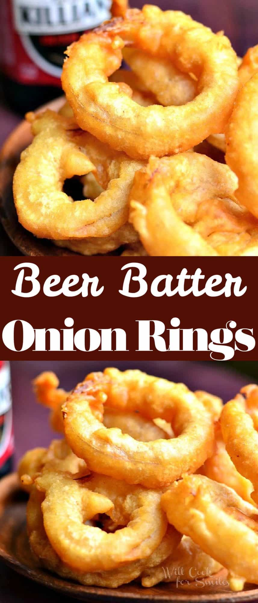 titled photo collage with two images of beer battered onion rings