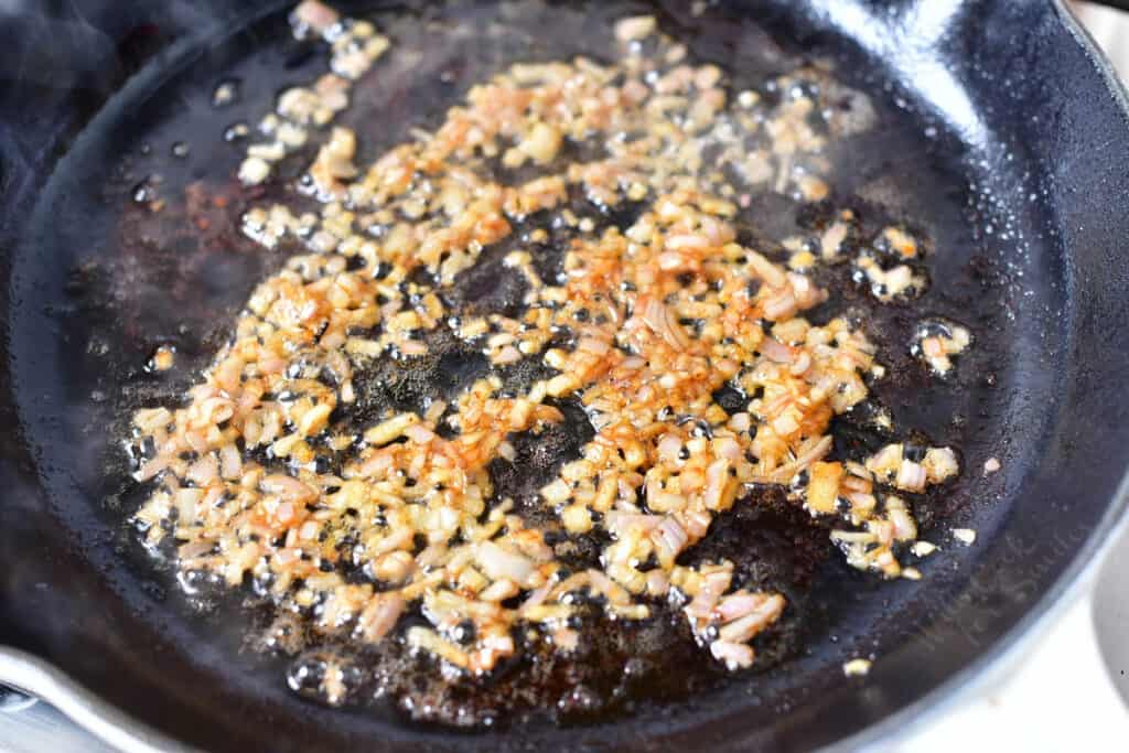 browning minced shallots in steak drippings