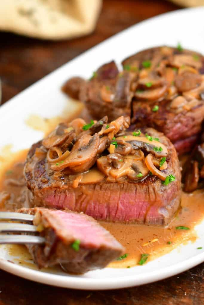 inside of Steak Diane after being sliced