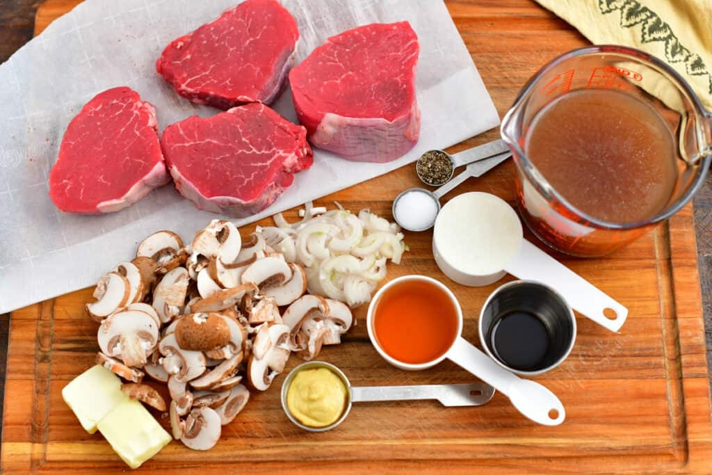 prepped and measured ingredients for steak diane