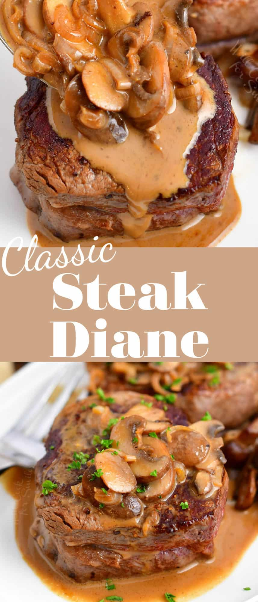 titled photo collage (and shown): Classic Steak Diane