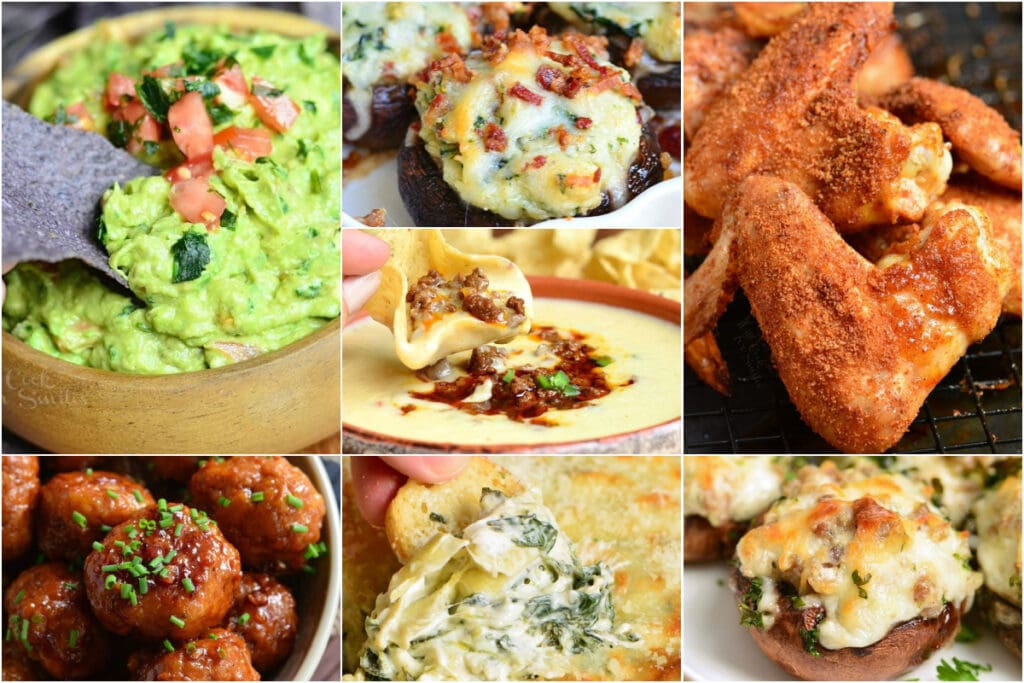 collage of seven appetizers including guac, wings, mushrooms, and dips