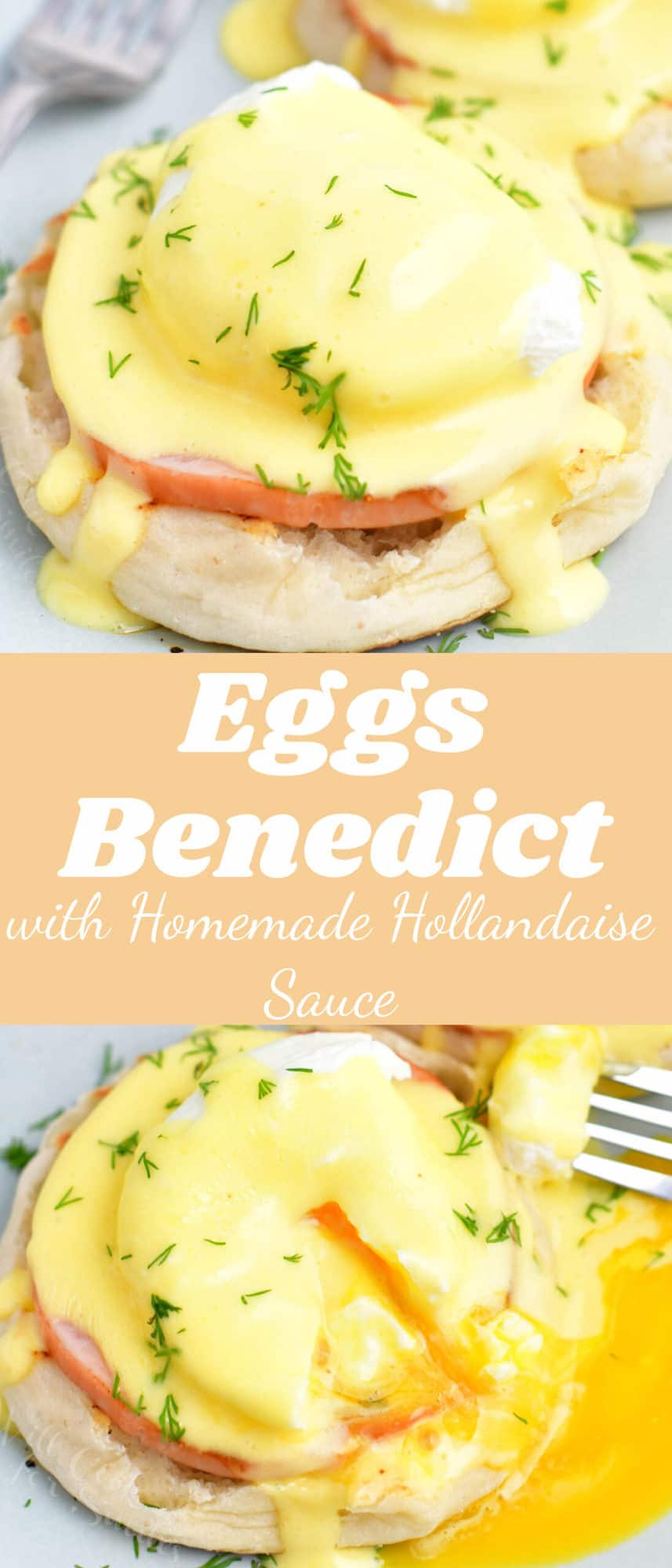 title collage with eggs benedict closeup on top and broken yolk eggs on the bottom