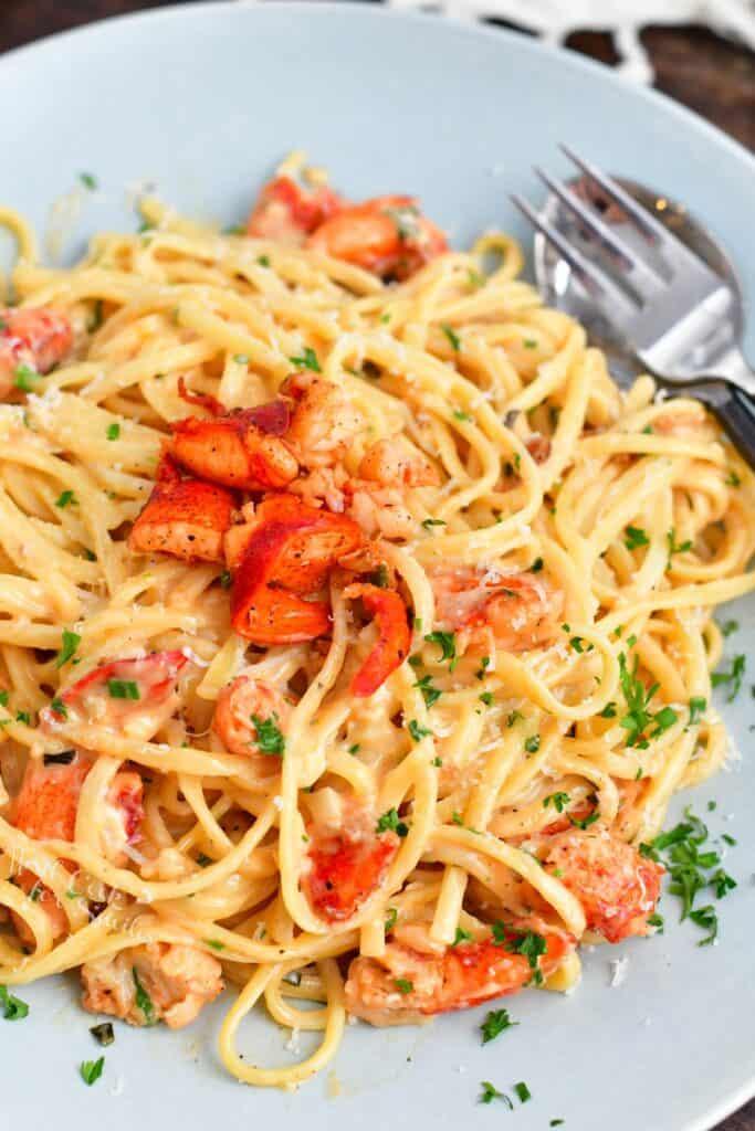 overhead image of seafood pasta