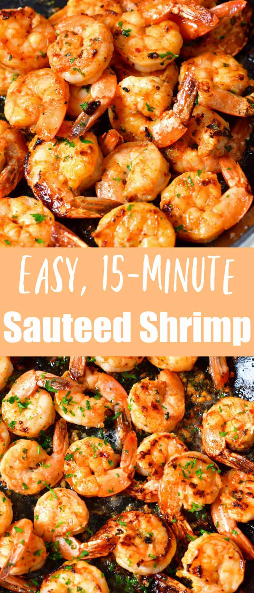 title collage of sautéed shrimp in the pan on top and bottom