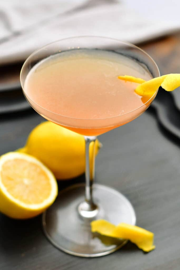 top view of the Sidecar cocktail in a glass with lemon twist
