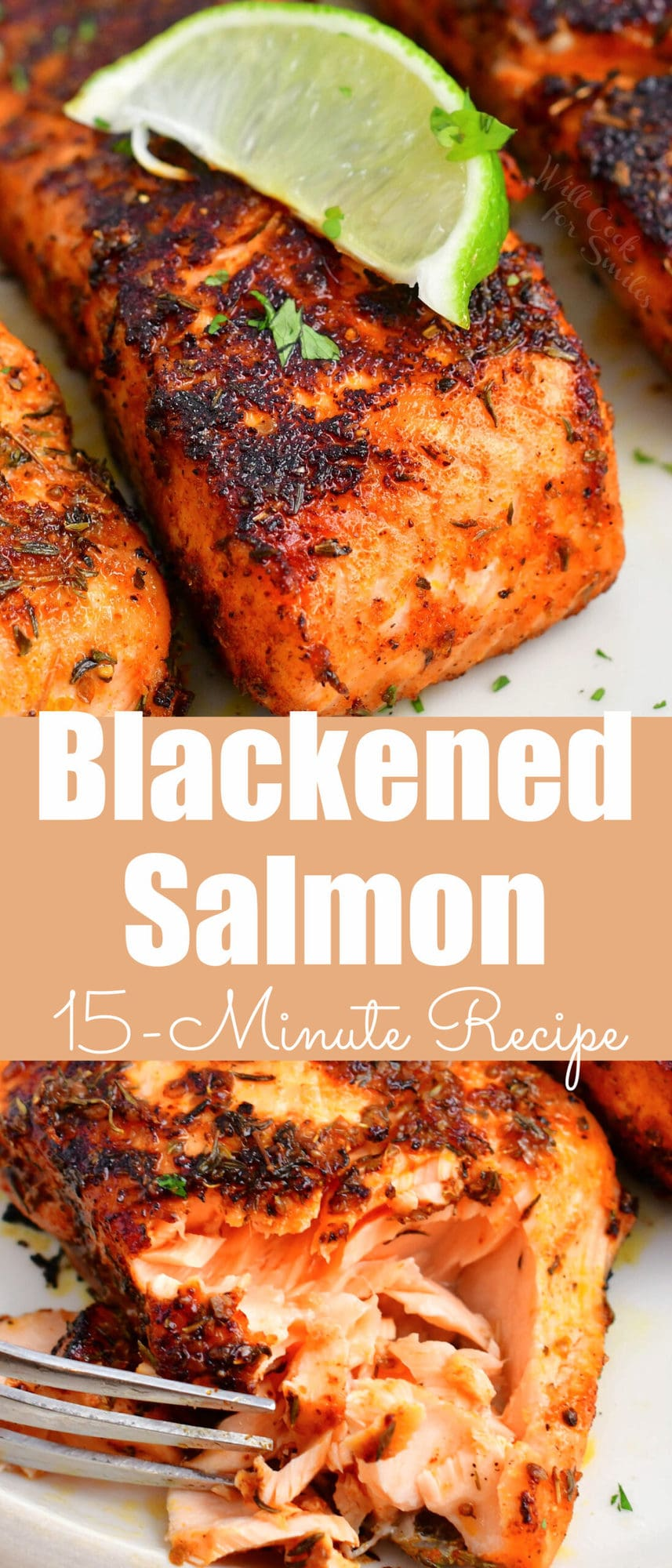 title collage of blackened salmon up close and flaked off salmon meat