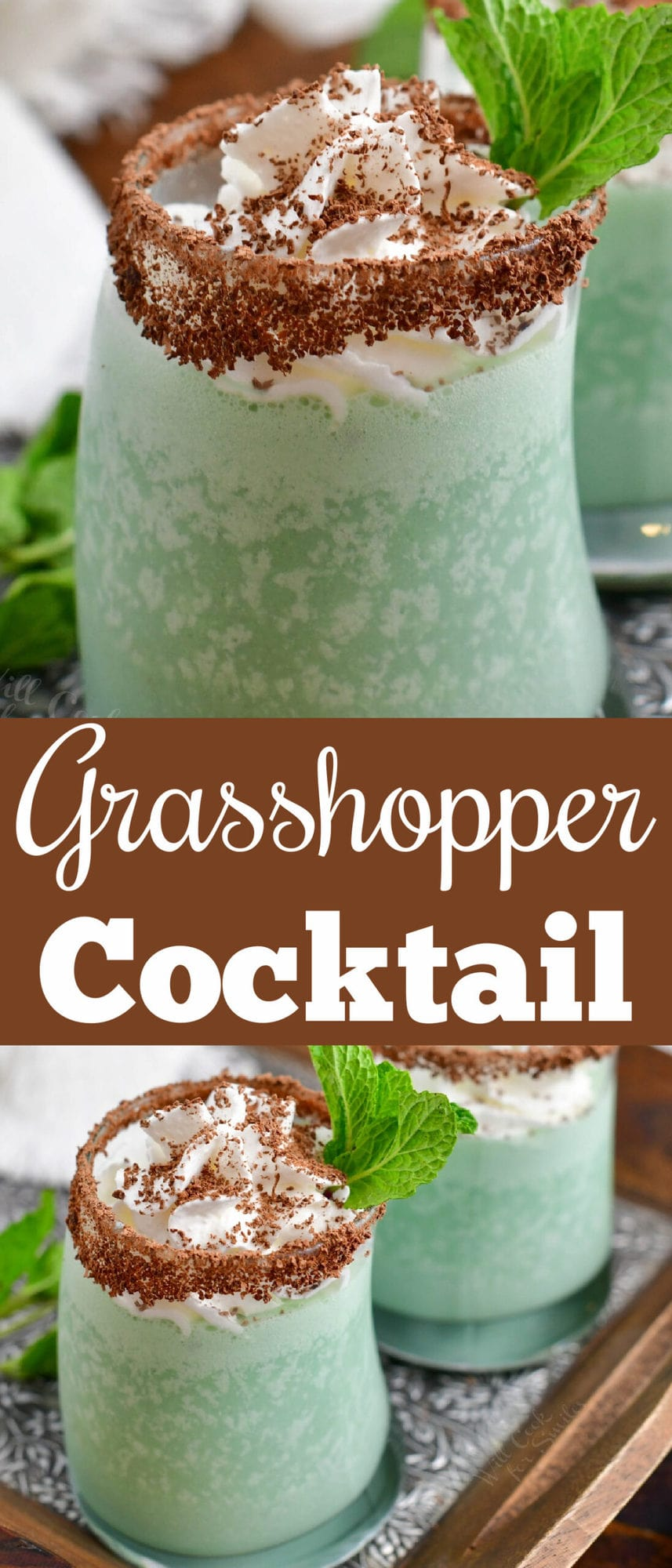 title collage with closeup of grasshopper green drink and top view of the cocktail