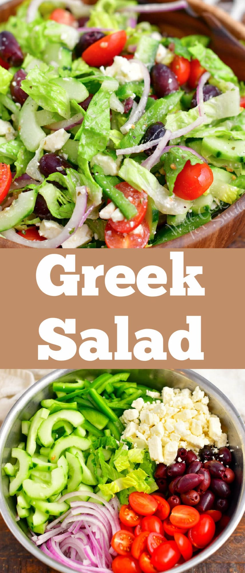 title collage of mixed Green salad and salad ingredients in a bowl