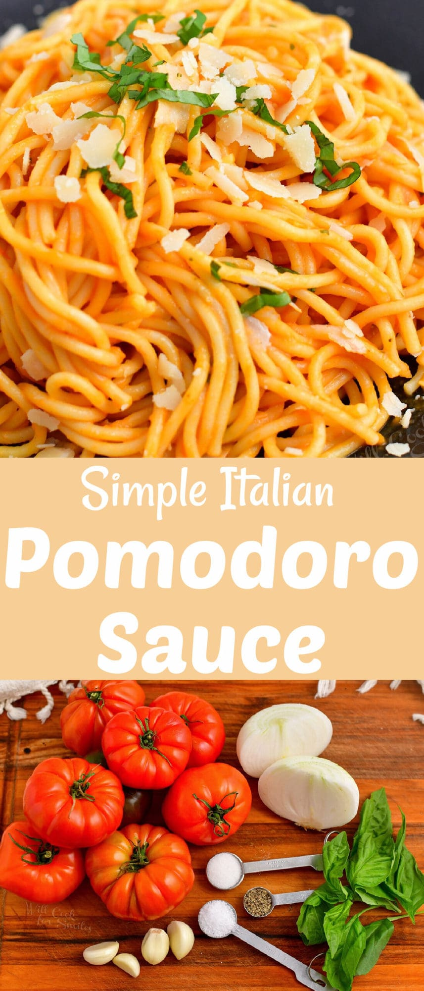 title collage of two images of spaghetti in tomato sauce on top and ingredients on a board