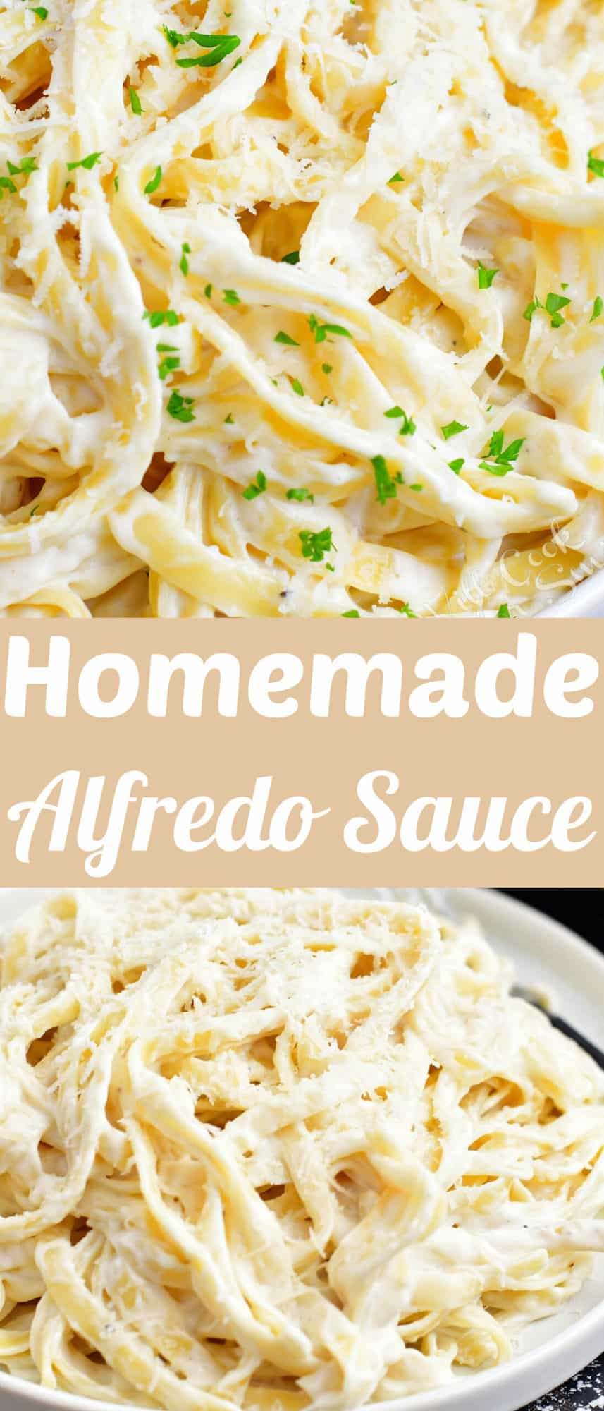 title collage of two images of pasta tossed in Alfredo sauce
