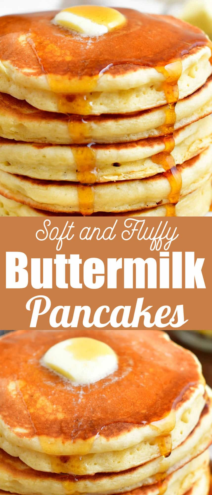 title collage of stacked pancakes with maple syrup dripping off and butter on top