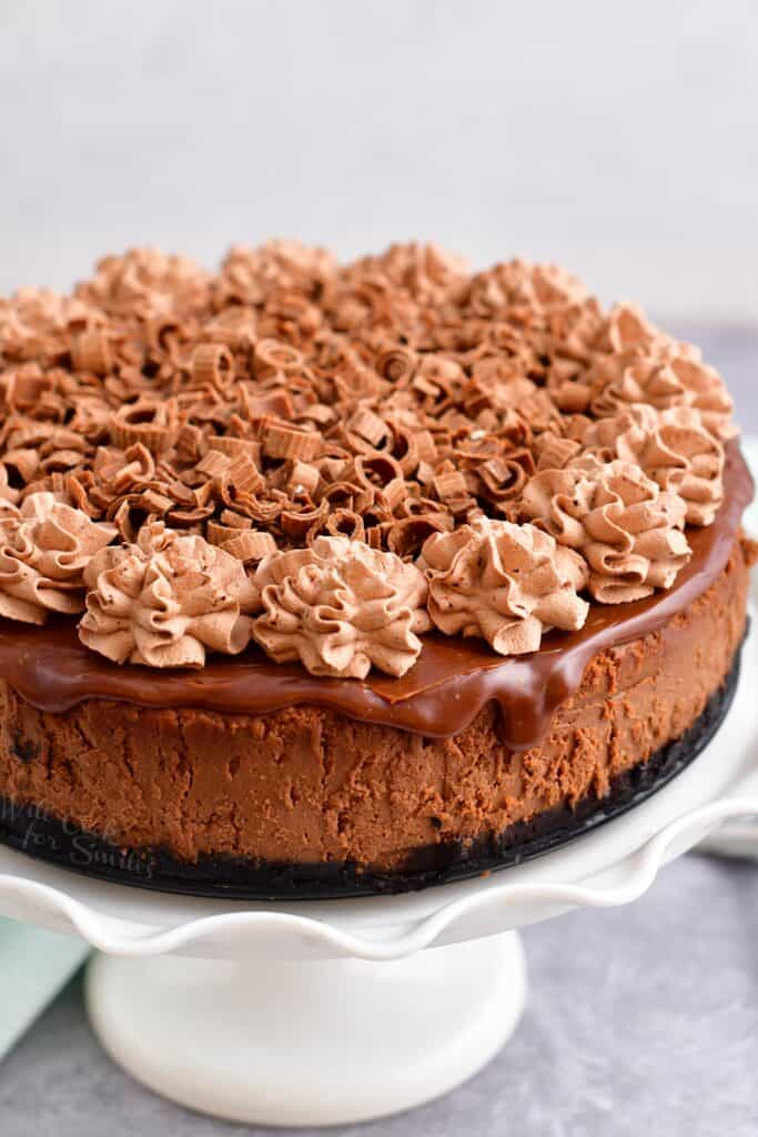 A chocolate cheesecake is beautifully topped with chocolate whipped cream.