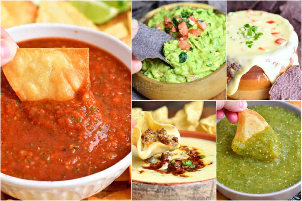 collage of red salsa, salsa verde, guacamole, and queso