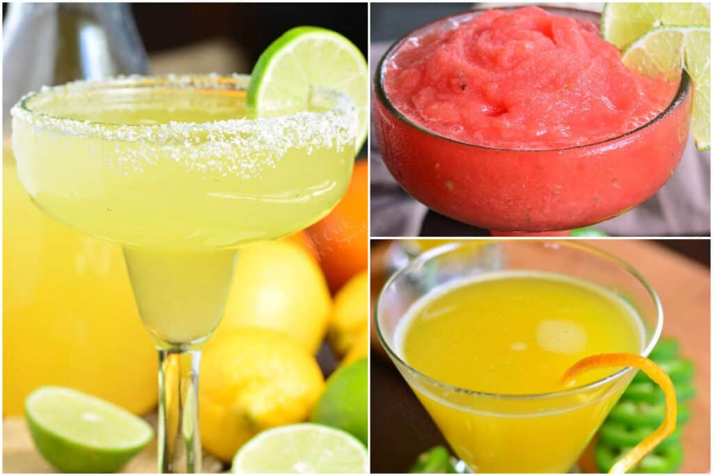 collage of 3 margaritas: classic, watermelon, and spicy