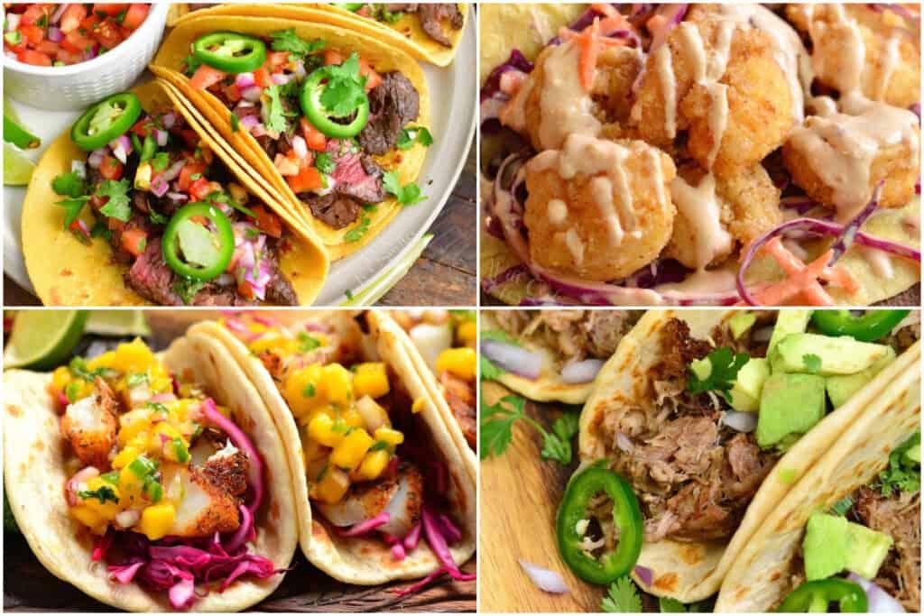 collage of four tacos: carne asada, pork, fish, and shrimp