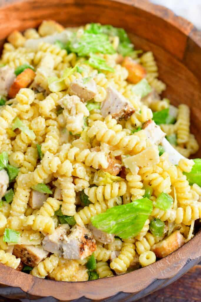 Pasta salad is ready to be served.