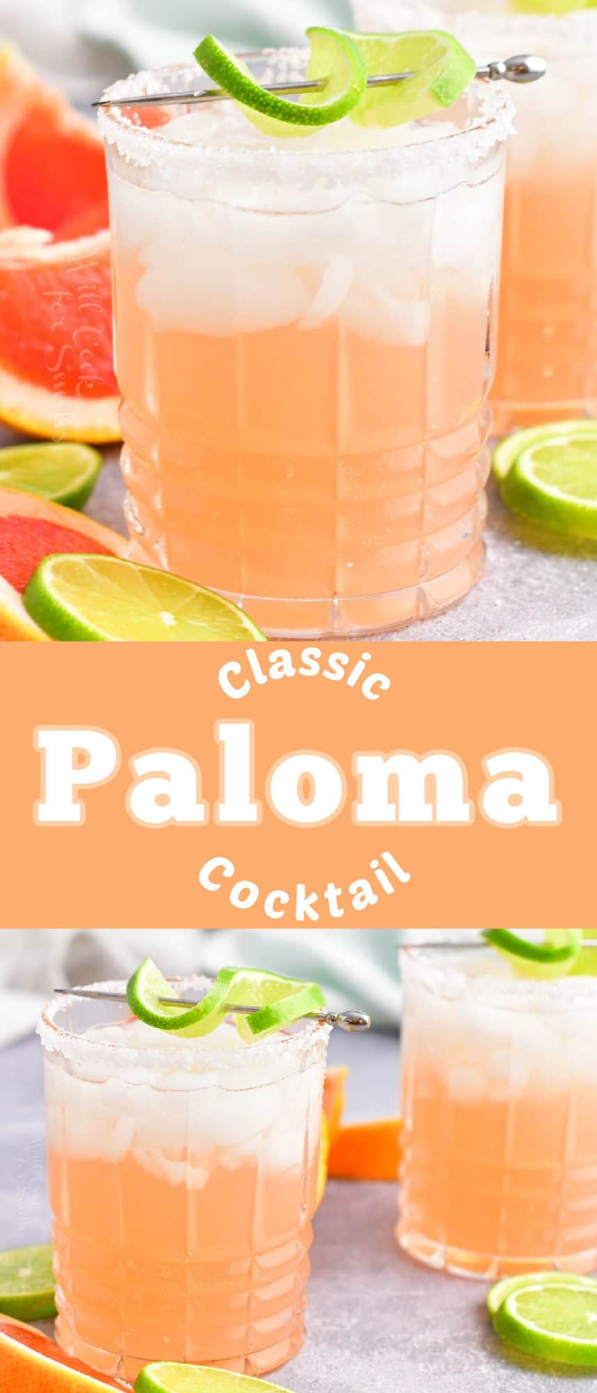 title collage with two images of Paloma cocktail in a glass with different angles