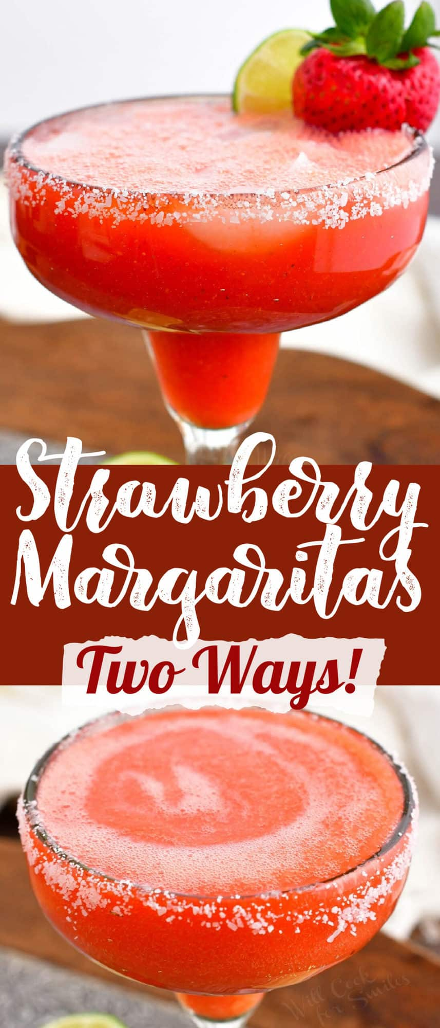title collage with two images of frozen strawberry margarita in a glass with salted rim