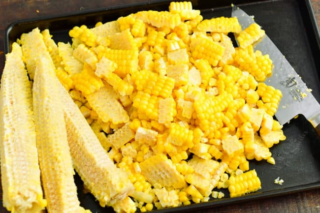 Corn has been cut off of the cob.