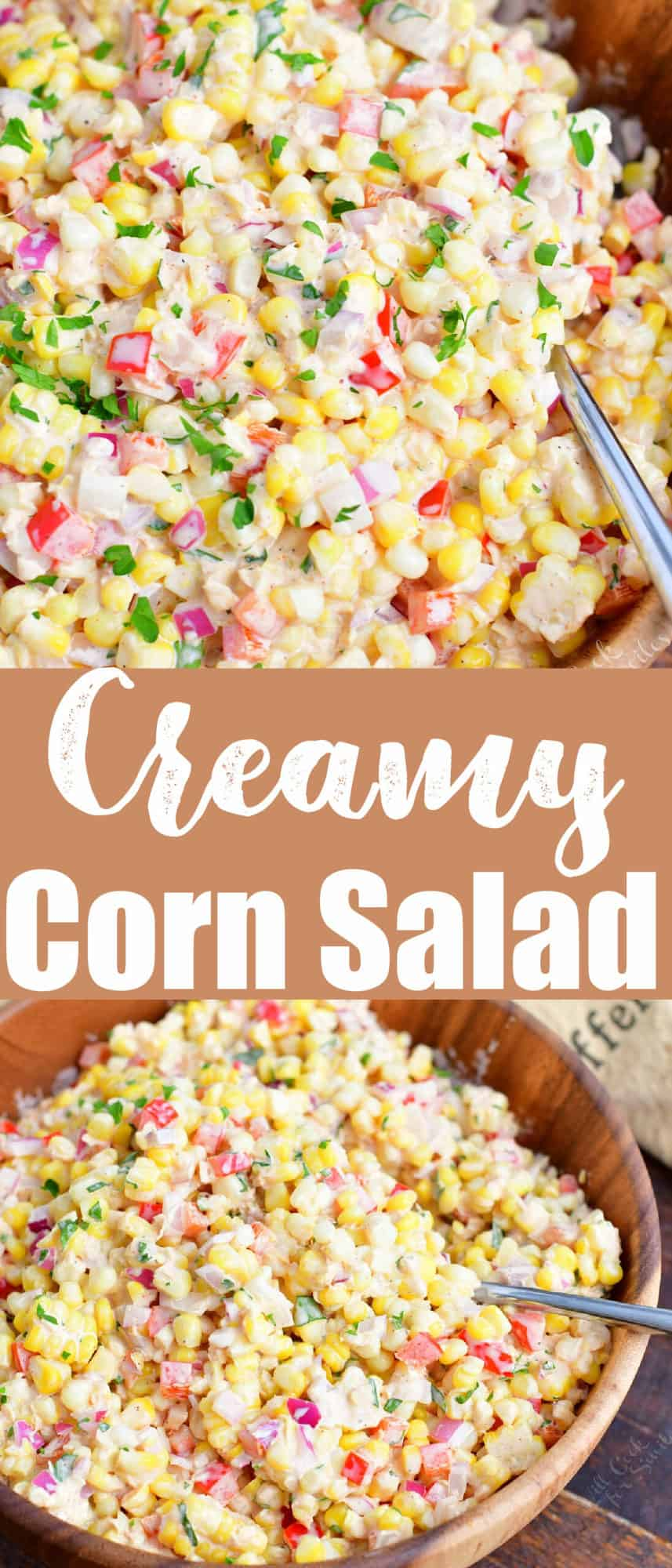 title collage of two images of close up corn salad and salad in a bowl and recipe name